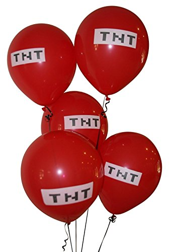 Pixelated Red TNT Balloon 12 Inch Latex Party Balloons - 25 Count