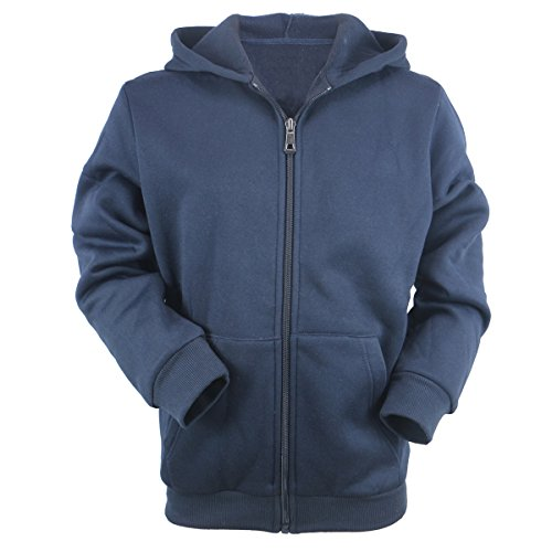 Evrimas Youth Kids Lightweight Fleece Hoodie for Boys Full Zip Long Sleeve Child Spring Thin Outdoor Sweatshirts(Navy,10)