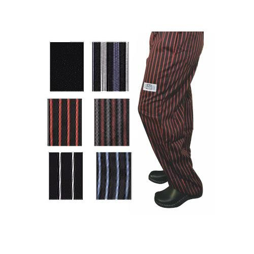 Chef Revival P040WS-L Cotton E-Z Fit Pant with 2-Side and 2-Rear Pockets, Large, White/Black Pinstripe