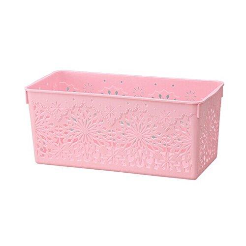 WINOMO Hohlen Kunststoff Storage Körbe Behälter Veranstalter Größe S (Rosa)