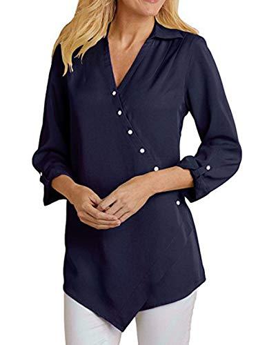 Chemises Casual Unie Automne Printemps Irregulier Tops Longues Chemisiers et Bleu Shirts Tee Hauts Femmes Revers Couleur Gavemenget Fonc Manches Blouses Tunique 1qIw6XOWXn