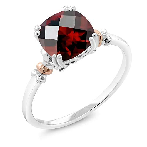 Gem Stone King 925 Sterling Silver and 10K Rose Gold Ring Red Garnet (2.40 cttw, 8x8mm Cushion Checkerboard) (Size 8)