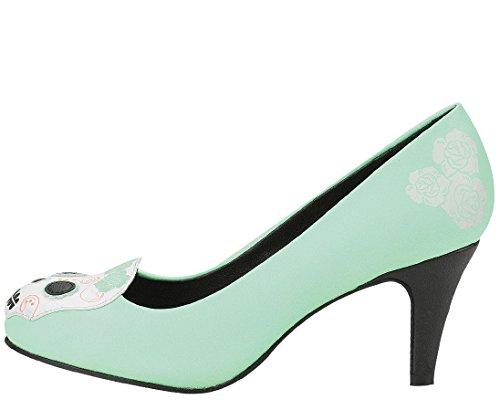 T.U.K. Shoes Womens Antipop Day Of The Dead Character Heel Green
