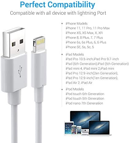 Lightning Cable MFi Certified - iPhone Charger 3Pack 6ft Durable Lightning to USB A Charging Cable Cord Compatible with iPhone 12 SE 2020 11 Xs Max XR X 8 7 6S 6 Plus 5S iPad Pro iPod Airpods - White