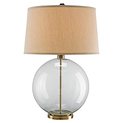 Cyprien Coastal Beach Glass Sphere Bronze Table Lamp