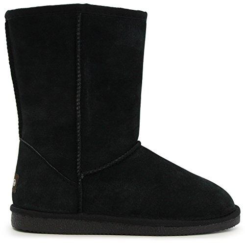 Lamo Women's Lady's 9 Inch Snow Boot, Black, 8 M US (Black Slipper Boots For Women)