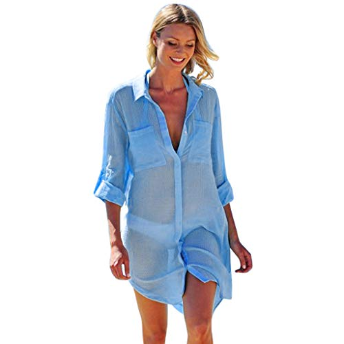 JJLIKER Women's Sexy Beach Cover Up Shirt Swimwear Swimsuit Bikini Beachwear Long Sleeve V-Neck Bathing Suit Blue ()