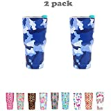 2PCS 30OZ Camouflage Double-Layer Stainless Steel Vacuum Insulation Tumbler Cup Travel Mug (30OZ, Camouflage Blue)
