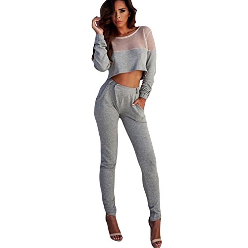 BYY Grey Sporty Mesh Insert Crop Top and Pant - Hosier Canada