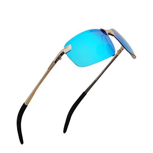 Monture Al de Demi Sport étui Lunettes Sports avec Bleu Polarisées Plein Mg anti Incassable en Homme soleil Lunettes Métal 100 UV400 QIXU Rigide Air de wPqw8Z