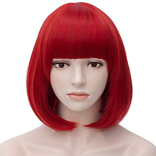 Red Bob Wig Short Hair Wigs with Bangs