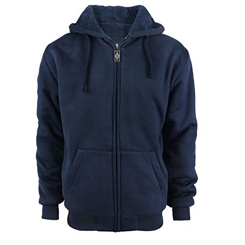 Tankoo Men's Full Zip Heavyweight Sherpa-Lined Fleece Hoodie Jackets Navy ()