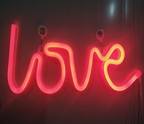 URTop 1Pcs Red/Pink/Warm White Led Neon Night Lights Love Lightning Heart Marquee Neon Light Sign USB / 3AA Battery Operated Wall Lamp Decor For Christmas Wedding Gift For Sale