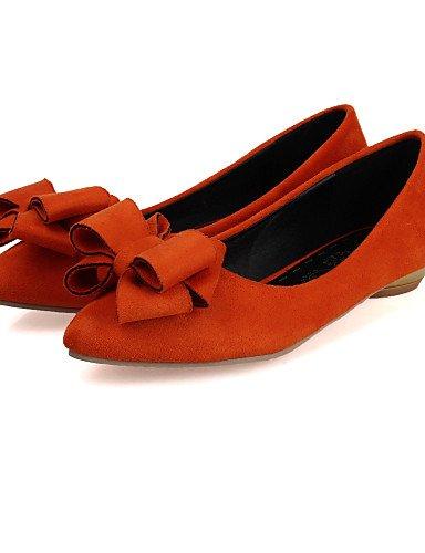 amarillo plano uk4 5 de 7 eu37 marrón zapatos punta 5 rojo talón piel PDX us6 Toe cn37 negro mujer de Flats sintética 5 red Casual x01Uqn6F