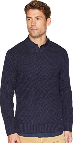 (RVCA Men's Dispatch Crew Neck Sweater, Denim Heather, S)