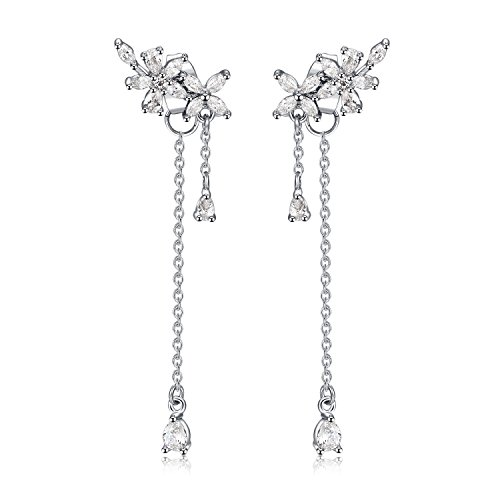 (S925 Sterling Silver Crystal Tassel Wrap Earrings Flower Leaves Crawler Dangle Earring Threader Tassel Chain for Women Girls Gifts)