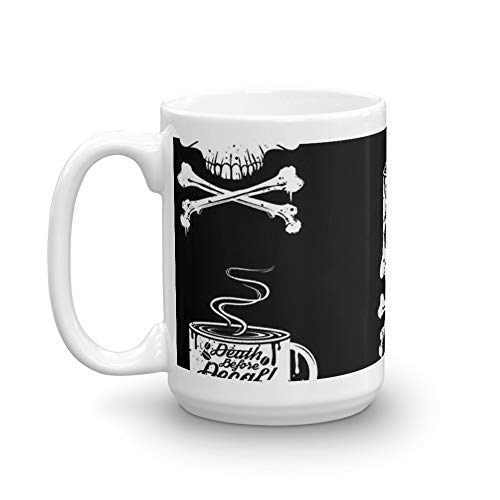 Death Before Decaf! 15 Oz Ceramic Glossy Mugs With Easy Grip Handle, Give A Classic For Look And Feel. 15 Oz Fine Ceramic Mug With Flawless Glaze Finish