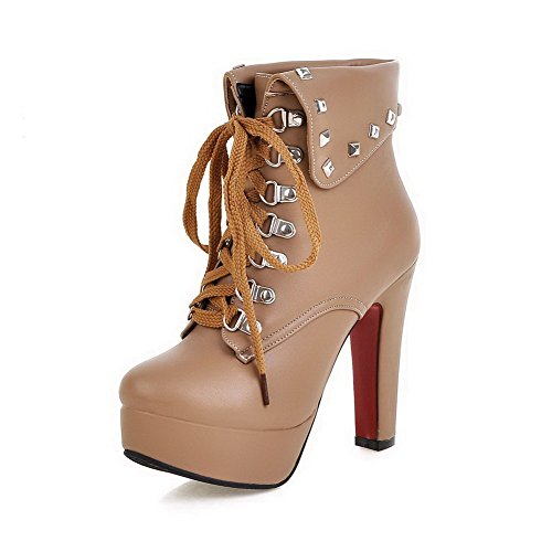 VogueZone009 Womens Round Toe High-Heels Pu Lace-Up Low-Top Boots with Metal Spike, Apricot-Rivet, ()