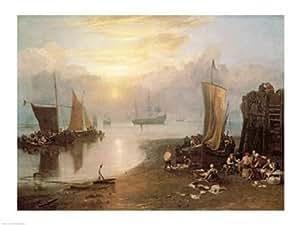 J.M.W. Turner – Sol Naciente través de vapor: Los pescadores de limpieza y venta de pescado Artistica di Stampa (60,96 x 45,72 cm)