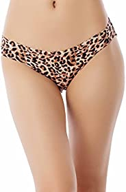 iB-iP Women's Cotton Layered Leopard See-Through lace Back Low Rise Bikini P