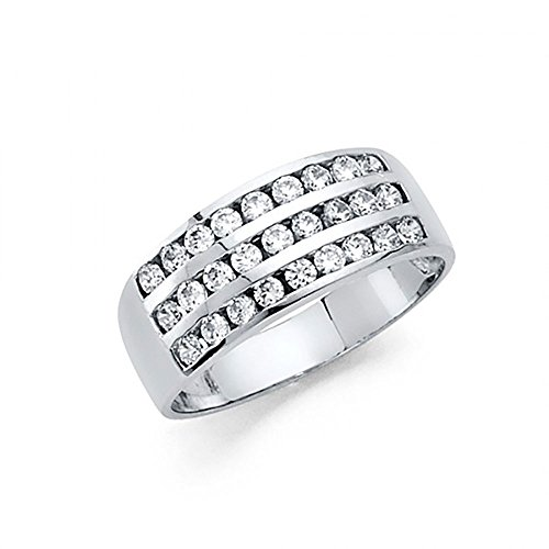 14k White Gold 3 Row (14k White Gold 3 Row Channel Set CZ Band Ring)