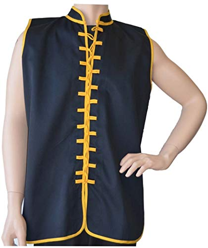 """Sleeveless Uniform Top Black w/Gold-Kid Large (top height: 23.5"""" chest: 38"""")"""
