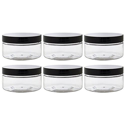 [Clear PET Plastic (BPA Free) Refillable Low Profile Jar - 8 oz (6 pack) + Spatulas and Labels] (Clear Pet Plastic Jars)