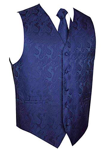 Men's Navy Blue Paisley Design Dress Vest NeckTie Handkerchief Set for Suit or Tux XS