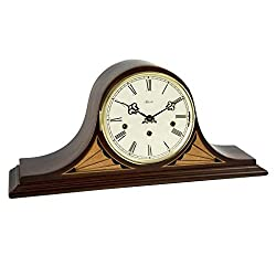 Qwirly Remington Mantel Clock #21162N91050 by Hermle - Antique Style Decorative Wood Clock for Living Room, Kitchen and Office with Chimes