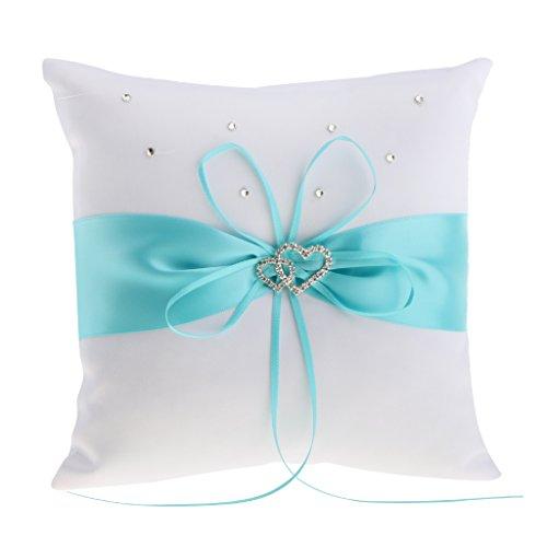 MonkeyJack Wedding Ceremony Satin Heart Ring Pillow Diamond Ribbon Ring Bearer Cushion (Diamond Ring Pillow)