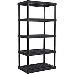 Amazon Com Contico Plastic Shelving 5 Shelves 3618 5bk