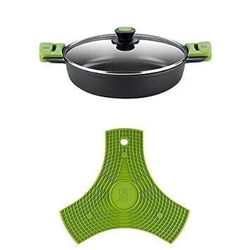 BRA PRIOR - Cacerola baja con tapa de cristal y asas de silicona, apta para todo tipo de cocinas incluida inducción y horno, 36 cm: Amazon.es: Hogar