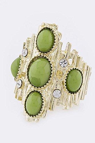 KARMAS CANVAS BEADED METAL RING (Green) (Green Ring Roberto Coin)