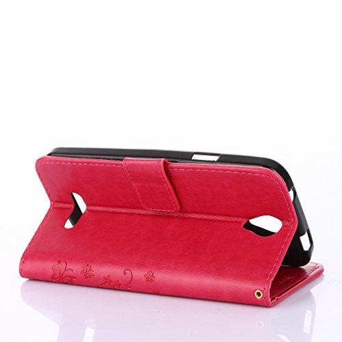 Yiizy DOOGEE X6 Custodia Cover, Erba Fiore Design Sottile Flip Portafoglio PU Pelle Cuoio Copertura Shell Case Slot Schede Cavalletto Stile Libro Bumper Protettivo Borsa (Red Rose)