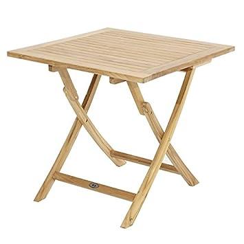Amazon De Ploss Teak Tisch Alabama Klappbar Quadratisch 80 X 80 Cm