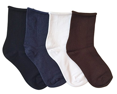 K. Bell Women's Relaxed Roll Top Crew Socks, 4Pair(Brown White Denim ()