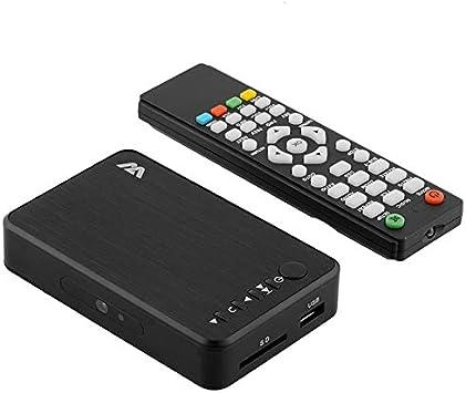 SNOWINSPRING Reproductor Multimedia Digital, Reproductor Multimedia Full HD 1080P TV Box, Disco Duro HDMI VGA AV USB Disco U Tarjeta/SDHC/MMC Enchufe de la UE: Amazon.es: Electrónica
