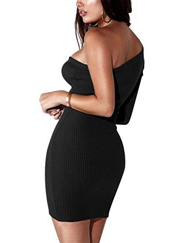 Yiwa Vestito Sexy Bodycon Un Pezzo Di Uno Spalla Metà Coscia Lunghezza Del Vestito Dalla Matita Signora Discoteca Femminile Vestito Nero