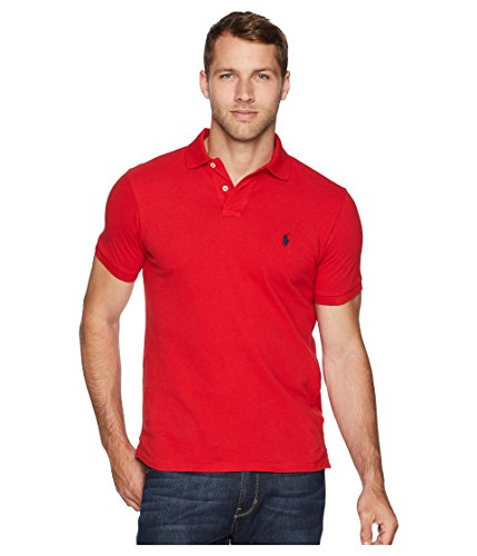 Ralph Lauren Polo Mens Custom Slim Fit Mesh Polo T-Shirt (M, RL2000 RED)