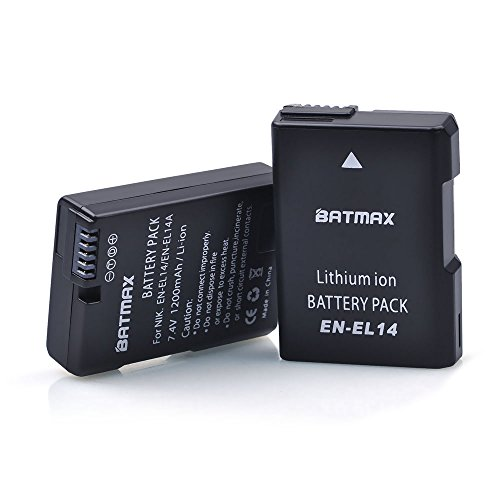 Batmax 2Pack Replacement Nikon EN-EL14 EN-EL14A Battery for Nikon D3100, D3200, D3300, D3400, D5100, D5200, D5300, D5500, D5600, DF, Coolpix P7000, P7100, P7700, P7800 DSLR Cameras