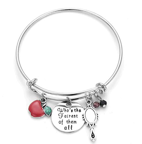Snow White Quote Bangle Who's The Fairest of Them All Expandable Bracelet with Apple,Mirror Crystals Charm Bracelet -