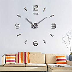 SIEMOO Large DIY Wall Clock Kit, 3D Modern Frameless Wall Clock with Mirror Number Stickers for Home Living Room Bedroom Office Decoration-Silver