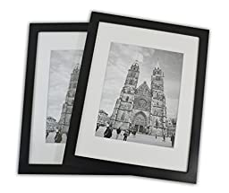 11x14 Photo Wood Frame with Mat (2 frames per box) BLACK