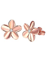 Goldenchen Fashion Classic Jewellery 18K White Gold/Rose Gold Flower Diamond Stud Earrings
