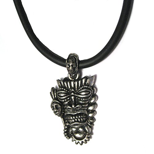 Long Life Tiki Party Mask Pendant Pewter Plated 16