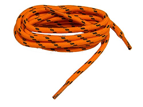 GREATLACES 72 inch Orange w/Black Kevlar proTOUGH(tm) Reinforced Heavy Duty Boot Laces Shoelaces (2 Pair Pack) by GREATLACES