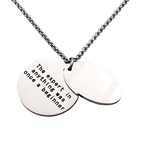 N.egret Personalized Sport With Quote Dog Tag Pendant Necklace Gift For Encouragement (Football) ()