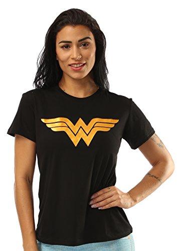 Justice League Wonder Woman Casual T-Shirt for Women (M, Black)