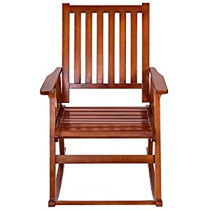FDInspiration Pine Wood Rocking Chair Porch Rocker Ergonomic Back Slats