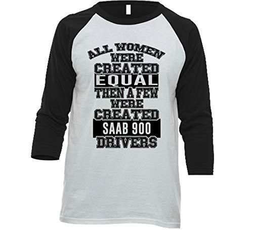 (Women Created Equal Few are Drivers Saab 900 Car Lover Enthusiast Baseball Raglan Shirt 2XL White/Black)